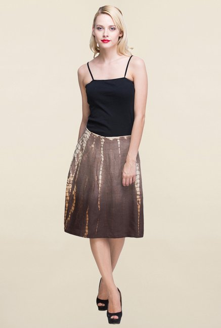Oxolloxo Brown Printed Skirt