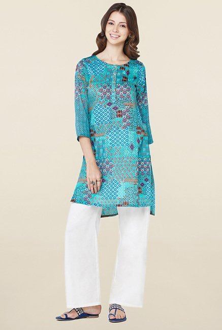 Global Desi Teal Printed Kurti