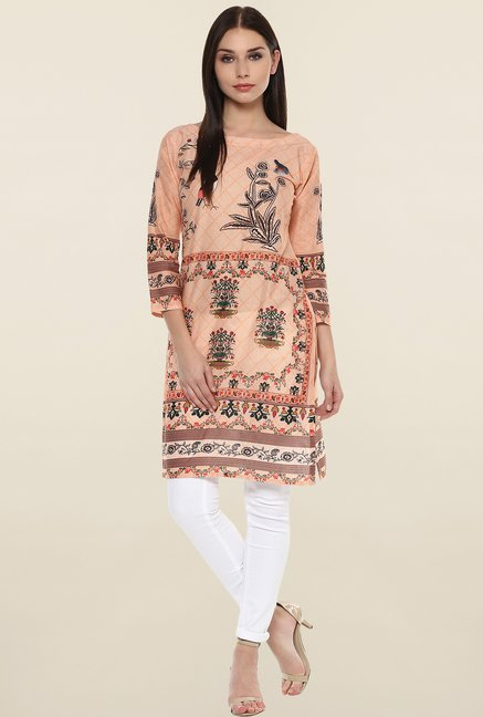 Ahalyaa Peach Printed Cotton Kurti