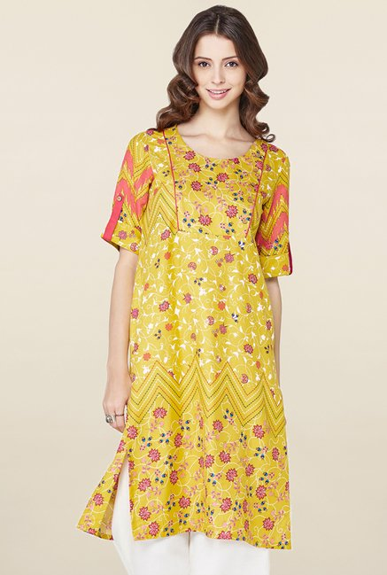 Global Desi Mustard Printed Kurti