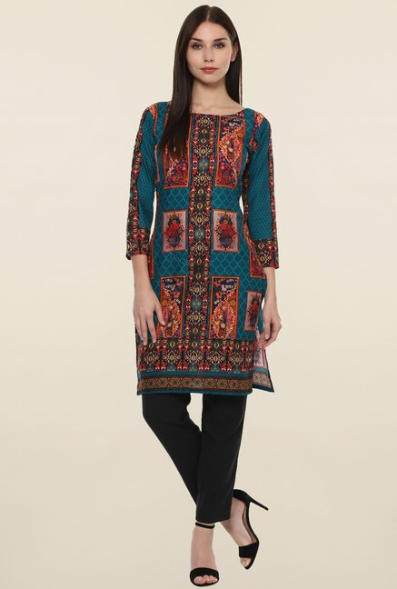 Ahalyaa Teal Printed Cotton Kurti