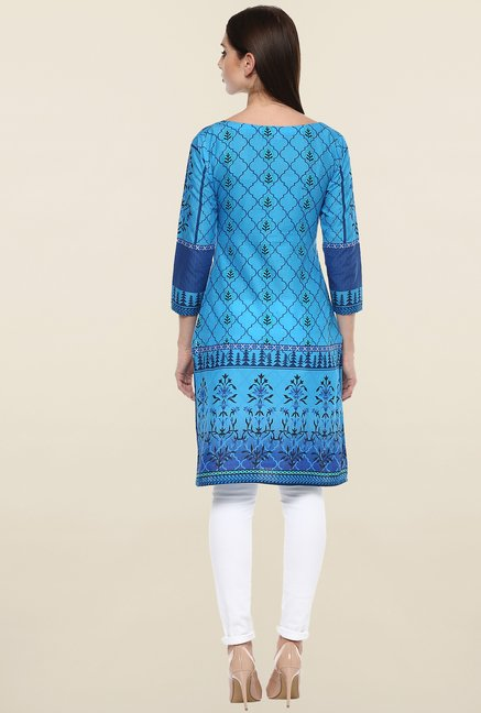 Ahalyaa Blue Printed Cotton Kurti