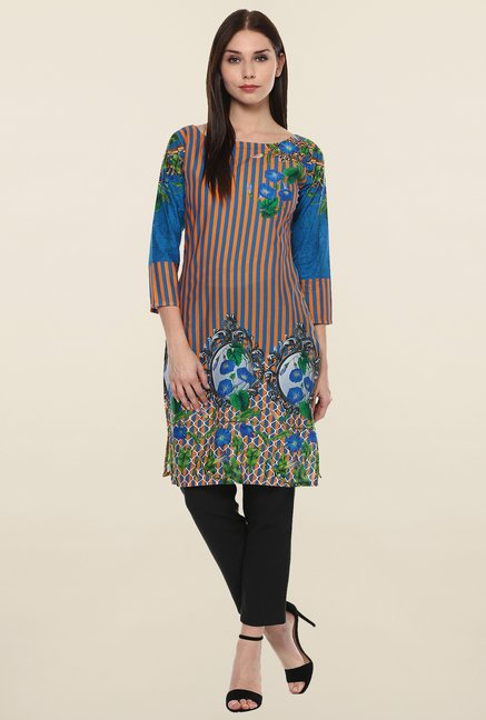 Ahalyaa Blue & Orange Striped Cotton Kurti