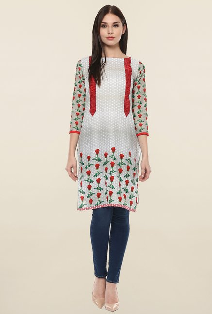 Ahalyaa Off White Printed Cotton Kurti