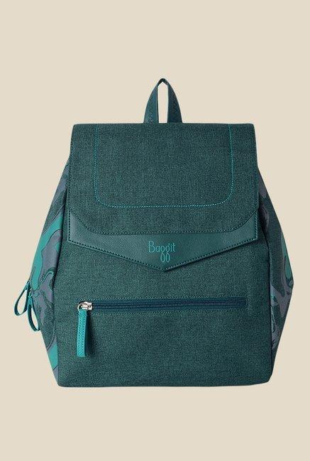 Baggit Dorita Lips Teal Blue Printed Backpack