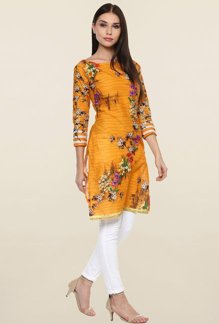 Ahalyaa Yellow Floral Print Cotton Kurti