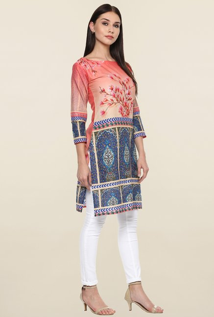 Ahalyaa Peach & Blue Printed Cotton Kurti