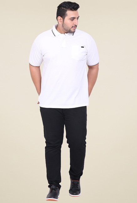 John Pride White Regular Fit Polo T-Shirt