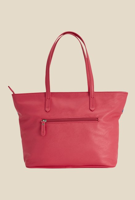 Caprese Paula Coral Red Printed Tote Shoulder Bag