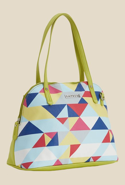 Caprese Paula Lime Green Printed Shoulder Bag