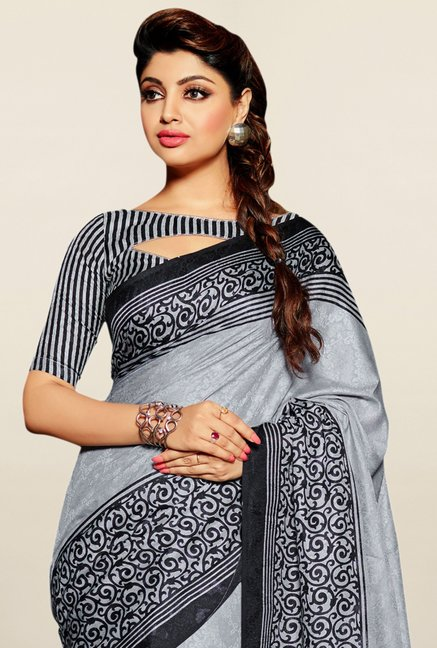 Triveni Grey Printed Bhagalpuri Silk Saree