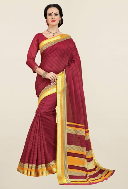 Triveni Maroon Printed Cotton Saree