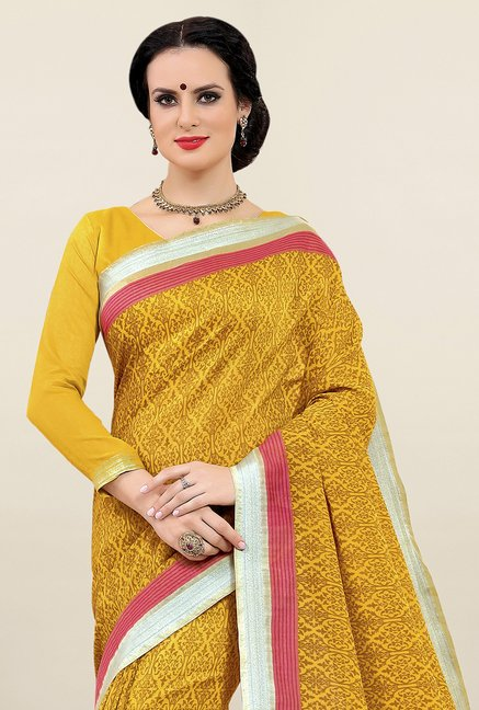 Triveni Mustard Printed Cotton Saree