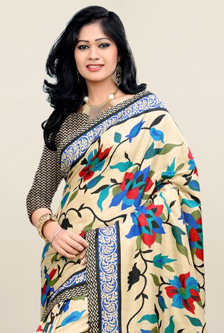Triveni Beige Printed Art Silk Saree