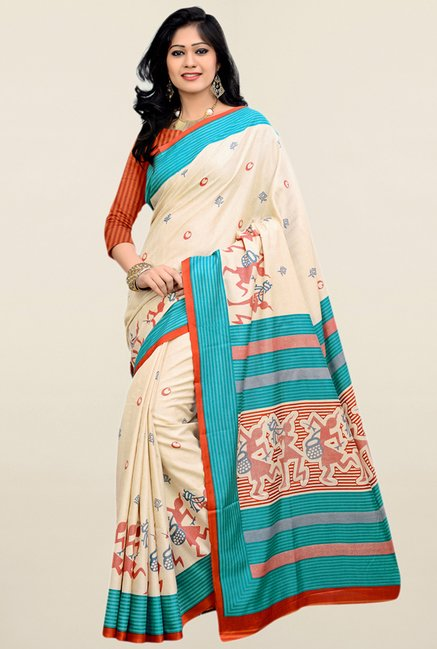 Triveni Cream Printed Art Silk Saree