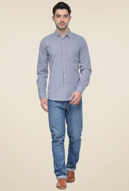 Ishwa Navy & White Regular Fit Shirt
