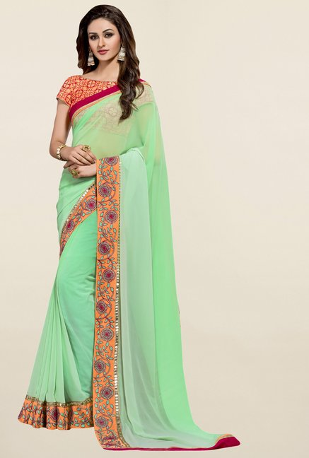 Triveni Green Solid Chiffon Saree