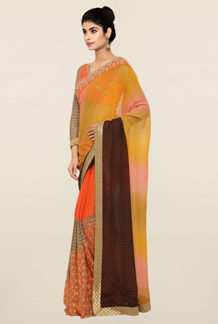 Triveni Orange & Yellow Embroidered Chiffon Saree