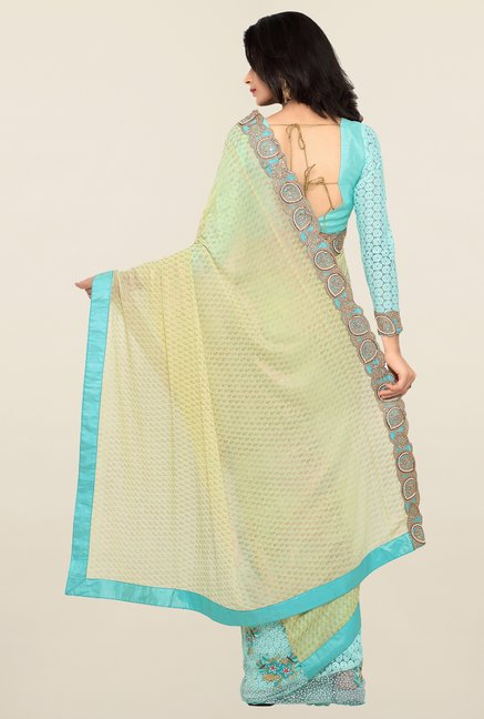 Triveni Blue & Beige Embroidered Faux Georgette Saree