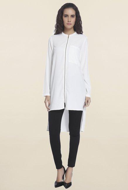 Vero Moda White Solid Tunic