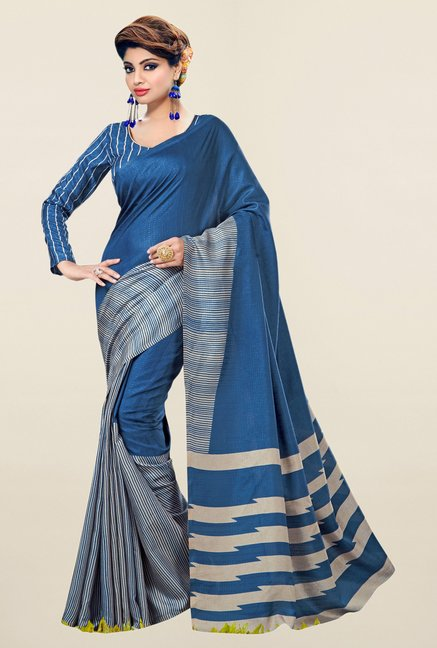 Triveni Navy Striped Bhagalpuri Silk Saree