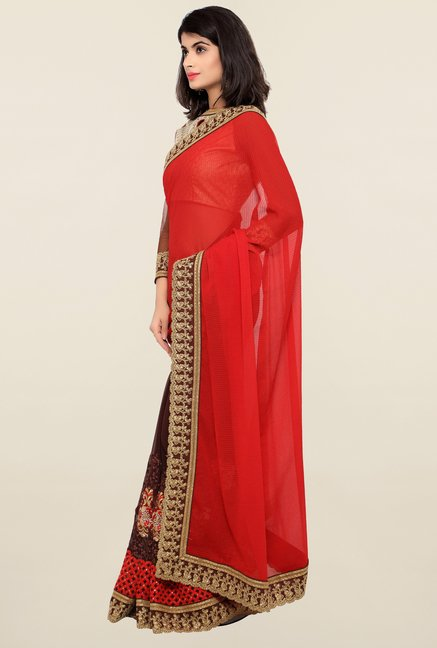 Triveni Brown & Red Embroidered Faux Georgette Saree