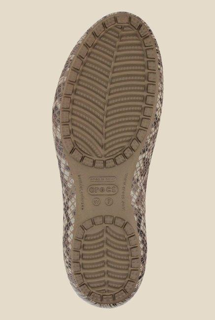 46a64d2d9162b4 Buy Crocs Kadee Snake Print Graphite   Stucco Flat Ballets for Women ...