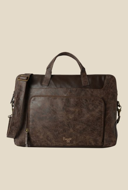 Baggit Kirby Clive Brown Solid Laptop Bag