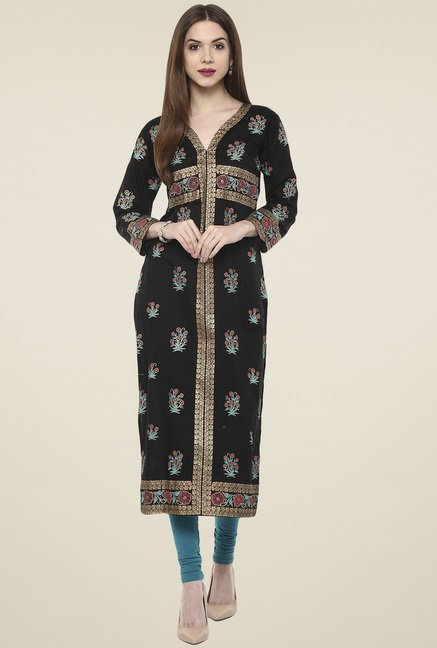 Ahalyaa Black 3/4th Sleeves Cotton Kurti
