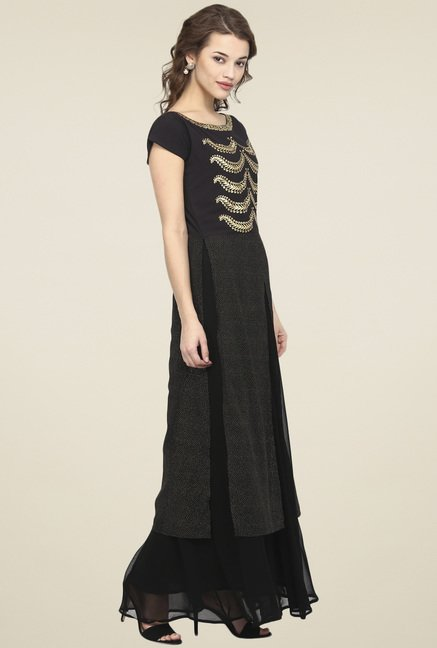 Ahalyaa Black Cap Sleeves Kurti