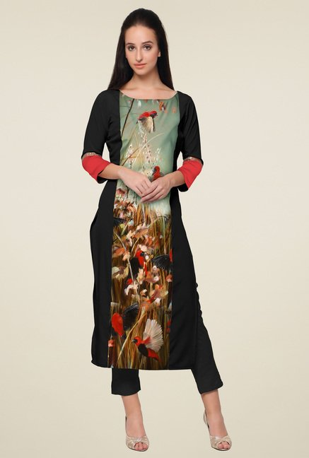 Ahalyaa Black 3/4th Sleeves Boat Neck Kurti