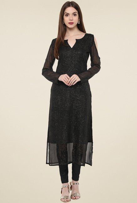 Ahalyaa Black Boat Neck Full Sleeves Kurti