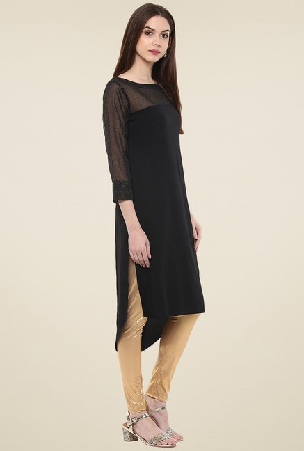 Ahalyaa Black Boat Neck 3/4th Sleeves Kurti
