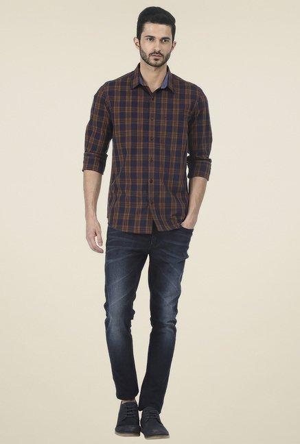 Basics Brown Cotton Checkered Shirt