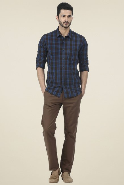 Basics Blue Checkered Slim Fit Cotton Shirt