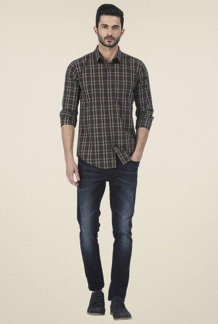 Basics Brown Checkered Slim Full Sleeves Shirt