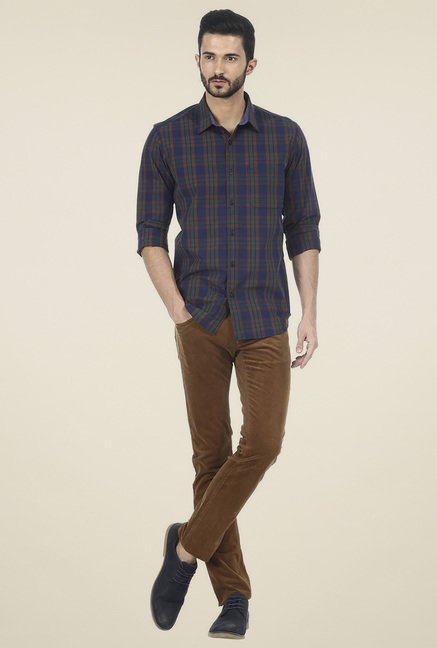 Basics Navy Checkered Cotton Shirt