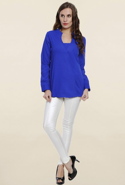 Soie Blue Textured Top