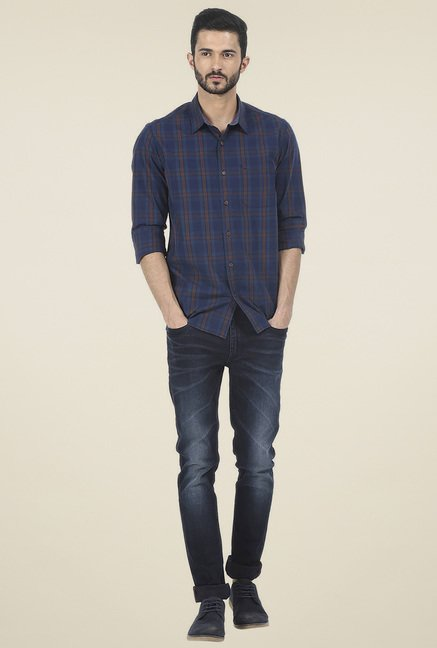 Basics Navy Slim Fit Checkered Shirt