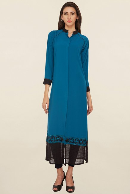 Soie Teal Solid Shirt Tunic