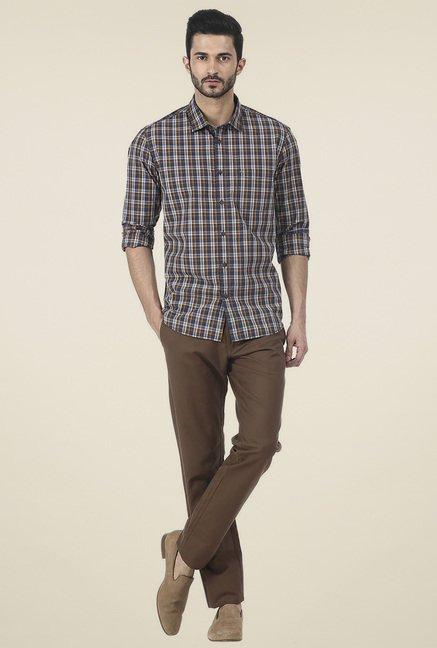 Basics Brown Full Sleeves Checkered Shirt