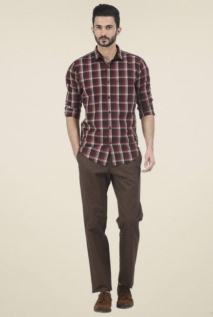 Basics Maroon Checkered Full Sleeves Shirt