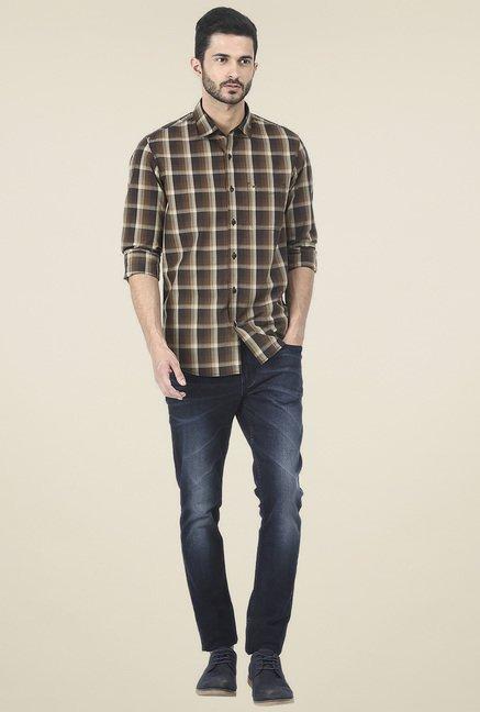 Basics Brown Checkered Slim Fit Shirt