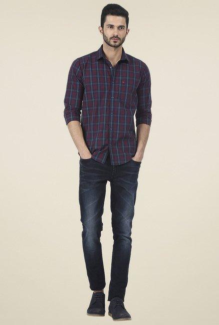 Basics Maroon Checkered Slim Fit Shirt