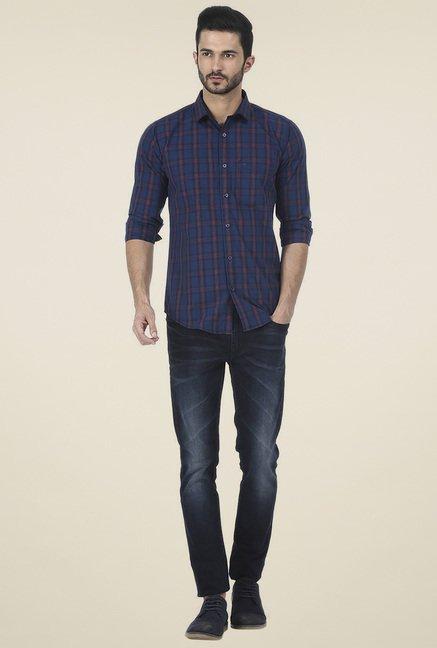 Basics Dark Blue Checkered Slim Fit Shirt