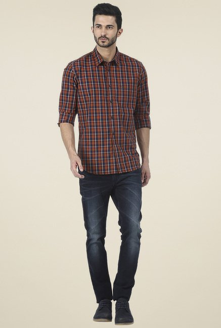 Basics Orange Checkered Slim Fit Shirt