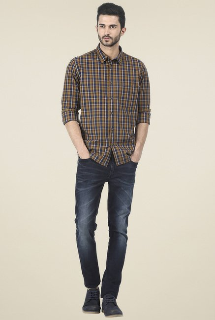 Basics Mustard Checkered Slim Fit Shirt