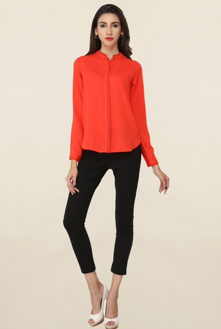 Soie Red Solid Shirt