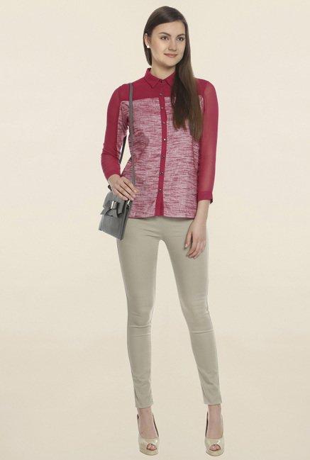 Soie Red Textured Shirt