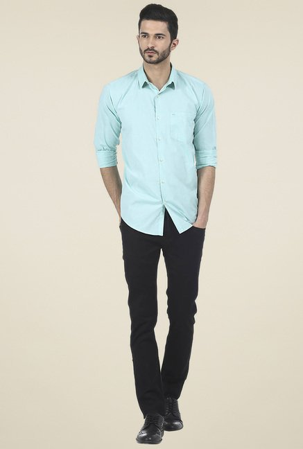 Basics Green Slim Fit Shirt